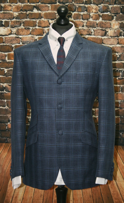 """Stanley"" Lightweight Wool Blue Grey Checked Suit"
